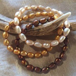 Set of Three Freshwater Pearl Stretch Bracelets